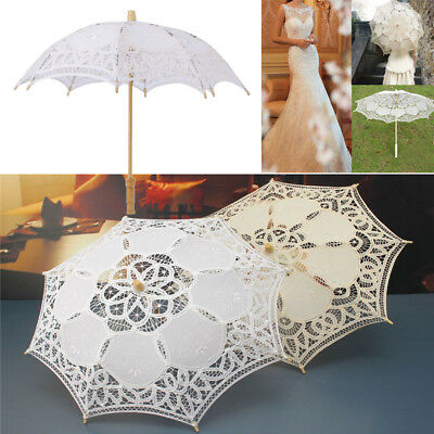 Lady Victorian Embroidered Cotton Lace Parasol Umbrella Hand Fan Wedding Brolly