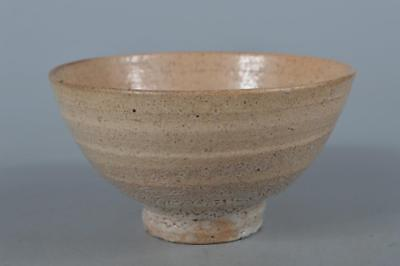 M3057: Korean Joseon Dynasty Buncheong White glaze TEA BOWL Green tea tool
