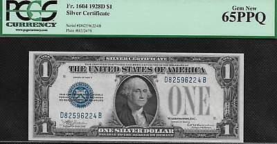 1928D PCGS GEM 65 PPQ Funny Back ONE DOLLAR $1 Silver Certificate Fr1604 3611