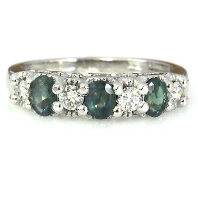1.07 ct tw Natural Real Alexandrite & Diamond Solid 14k White Gold 7 Stone Ring