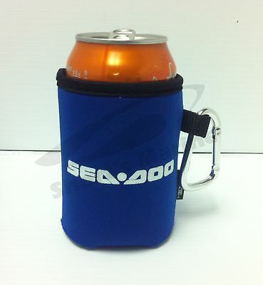 * BRP Sea-Doo Blue Collapsible Koozie Can Cooler with Carabiner