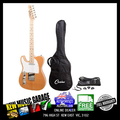Casino Tl-Style Left Handed Electric Guitar Set Natural Gloss