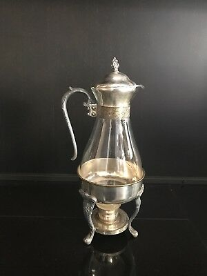Antique Vintage Sheffield Glass Coffee Carafe/Silver Plate & pewter