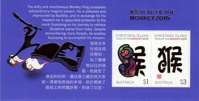 CHRISTMAS ISLAND, 2016 MUH Year of the Monkey Miniature Sheet 2V, VGC