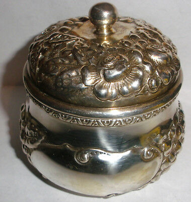 Antique floral repousse by W. J. Braitsch Sterling Silver covered box jar