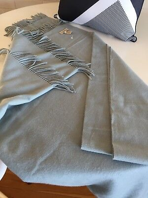 New Without Tags, 100% Cashmere Throw Blanket Hamptons Beachy Pale Blue, Second