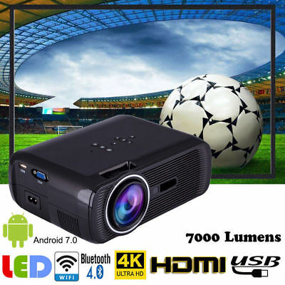 Multimedia 4K WiFi Android 7.0 Bluetooth 3D LED Home Cinema Projector 7000LMs TP