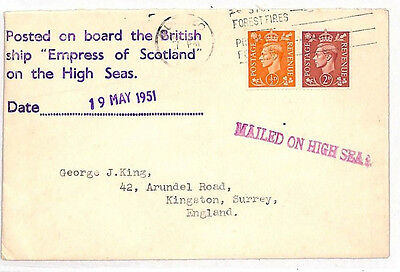 JJ266 1951 CANADA GB PAQUEBOT *SS Empress of Scotland*Cover*Mailed on High Seas*
