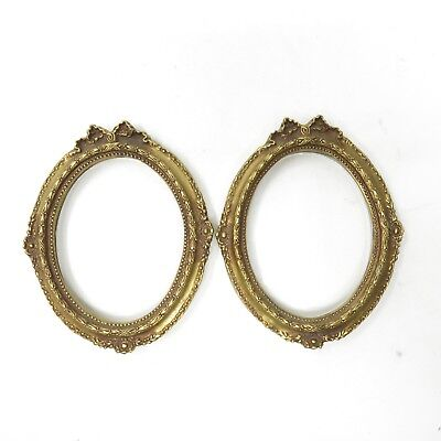 VINTAGE ANTIQUE SMALL Pair Gold Ornate Wood Oval Picture Frames w ...