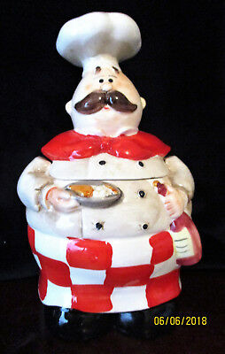 "Porcelain  "" CHEF / COOK ""   Canister   20cm or 8 inches High.    VGC"