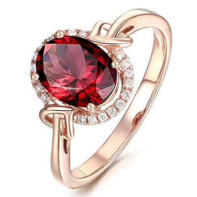 18K Rose Gold Filled Red Crystal Wedding Engagement Ring Size 7-10 Party Jewelry