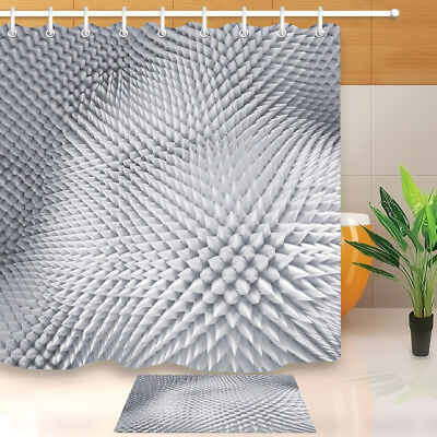 Bathroom Shower Curtain Liner Waterproof Fabric Silver Spiked Texture Background