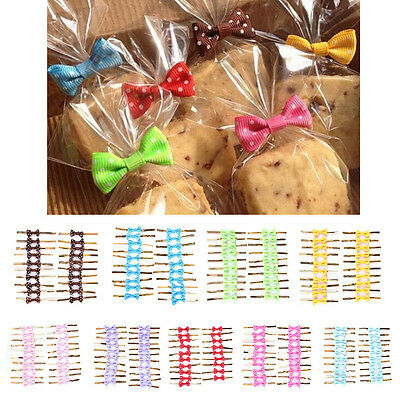 20Metallic Twist Ties Rire Dot Bowknot Cake Pop Sealing Cello*Bag Rollipop OH