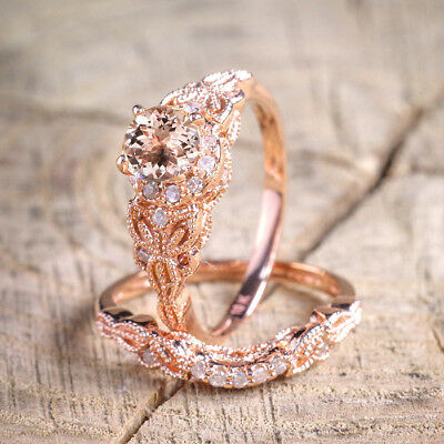 2Pcs Ring/Set 18K Rose Gold Filled Rhinestone Wedding Engagement US Size 7-10 AU