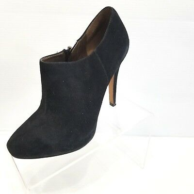 3f31f05be Sam Edelman Ria Black Suede Leather Bootie Heels Hidden Platform Size 7M Zip