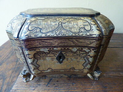 Antique Chinese Export Black Lacquered Tea Caddy - Late 18th/Early 19th Century