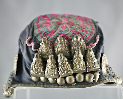 Very Rare Antique Chinese Hand Embroidered Cloth Hat Sew w/Silver Ornaments