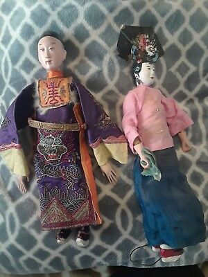 Set 2 Vintage collectible Chinese Opera doll silk embroidered robe mache face
