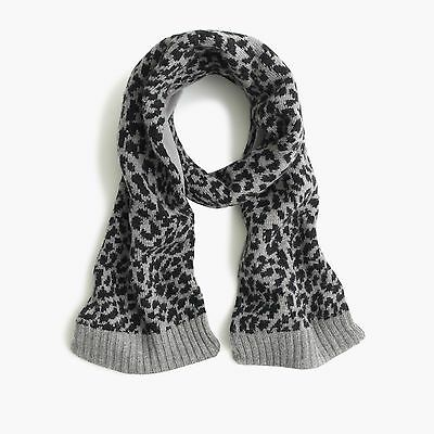 J.crew Crewcuts Girls Leopard Print Gray And Black Wool Blend Scarf New With Tag