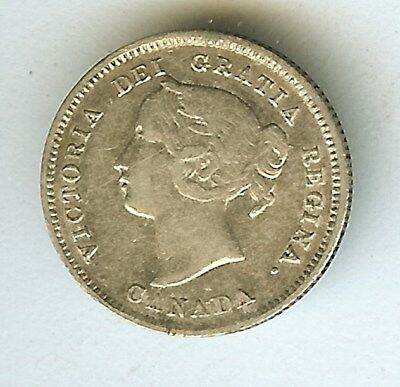 Canada 1899 Silver 5 Cents  About Uncirculated