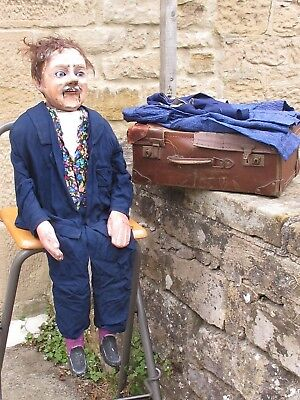 Antique Folk Art Ventriloquist Dummy With Smoker Mechanism