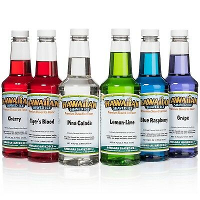 Hawaiian Shaved Ice 6 Flavor Pint Pack | Includes 6 Snow Cone Syrups [16oz Each]