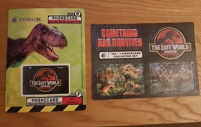 Phonecards The lost world Jurassic park 3 card collectors set.Rare