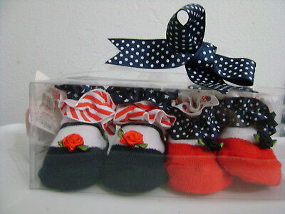 Baby Booties Set/ Red White Blue With Ruffles / 2 Pair / New / Sealed / Tags