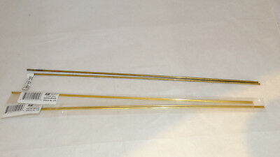 """Lot of 6 Round Brass Hollow Tubes 2-3/32"""" X .014 12"""" L,  4-1/18"""" .014 12"""" L"""