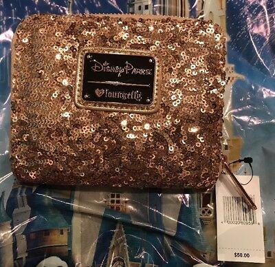 Disney Loungefly Rose Gold Wallet Sequin Minnie Wallet NEW In Hand