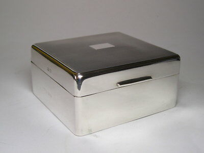 A Very Good Old Silver & Wood Lined Cigarette Box with Engine Turned Decoration
