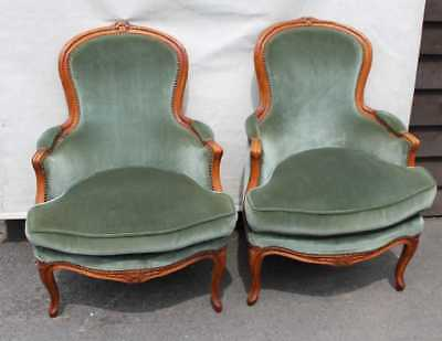 1940s Good Shaped Pair of Louis XV Style Walnut Armchairs in Greeny/Blue