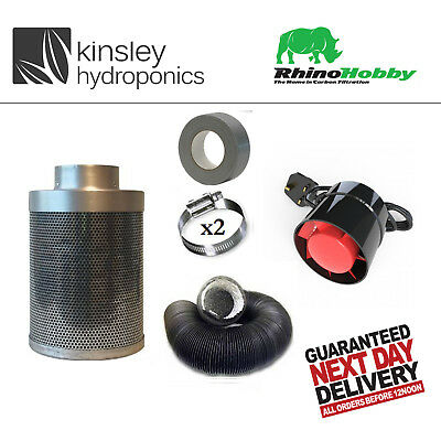 Rhino Hobby Carbon Filter Kit Odour Extraction Fan Combi Ducting Hydroponics
