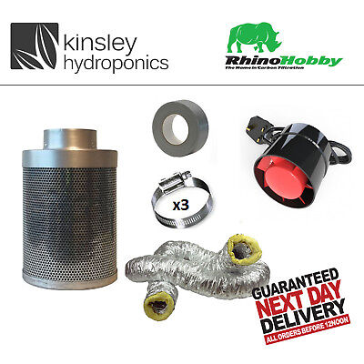 Rhino Hobby Carbon Filter Kit Odour Extraction Fan Acoustic Ducting Hydroponics