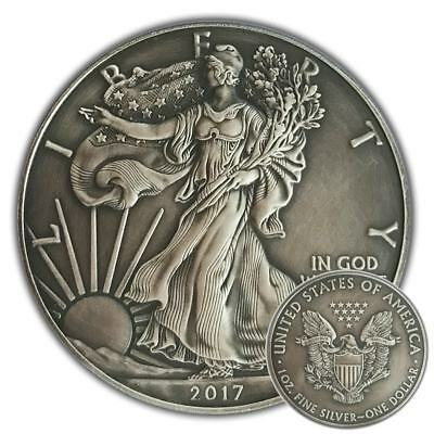 AMERICAN SILVER EAGLE - 2017 1 oz Pure Silver Coin with Capsule - Antique Finish