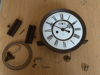 Gustav Becker weight-driven striking wall clock mechanism with dial