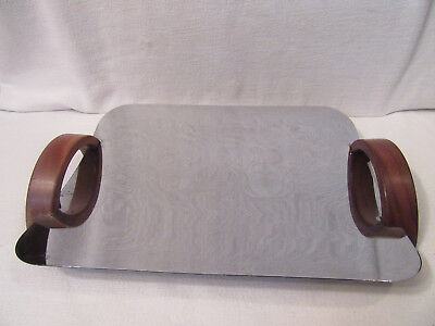 Vintage Mid Century Modern Bread Tray, Wood and Metal, Revere Rome NY