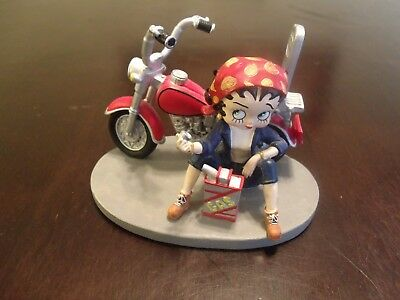 Betty Boop Out of Gas Sitting by her Motorcycle with Gas Can
