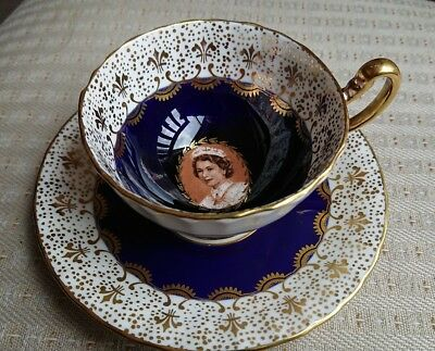 Aynsley China Cup & Saucer,1959 Queen Elizabeth St Lawrence Seaway Visit, Canada