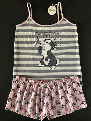 DiSNEY BAMBi KLOPFER HASE DAMEN PYJAMA SHORTY L XL 2XL SCHLAFANZUG TOP + SHORTS