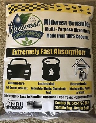 Midwest Organics Spill Absorbent 100% Coconut Automotive Oil Dry From Cat Spot