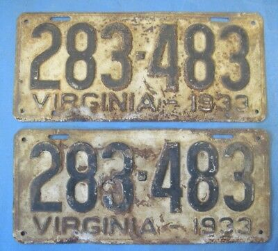 1933 Virginia License Plates Matched Pair