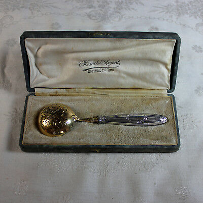 Beautiful Antique French Sterling and Vermeil Berry Spoon with Box