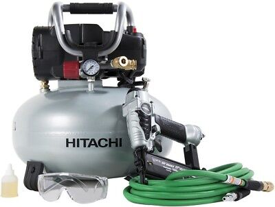 Hitachi KNT50AB Brad Nailer and Compressor Combo Kit, 6 Gallon Pancake Air 5/8