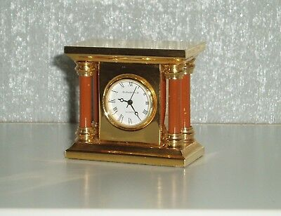 MINIATURE BRASS CLOCKS x 2 MANTLE & GRANDFATHER EURASTYLE VINTAGE COLLECTIBLE
