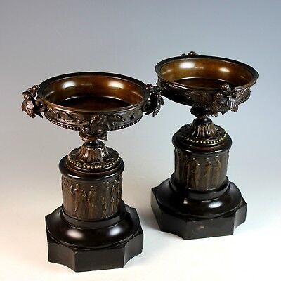 Antique French Bronze and Marble Garnitures Urns Roman Theme