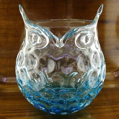 Hqt Glass Vase Owl In Teal And Clear Glass Design 8 X 5 Home