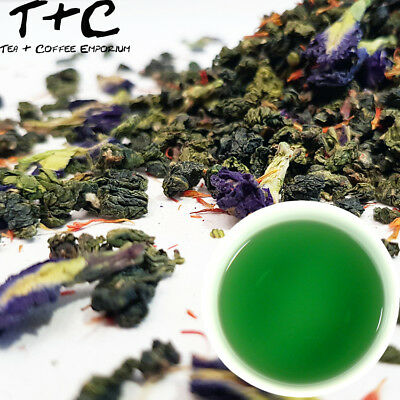 Jade Palace Tea - Chinese Oolong, Blue Clitoria Flowers & Wild Saffron