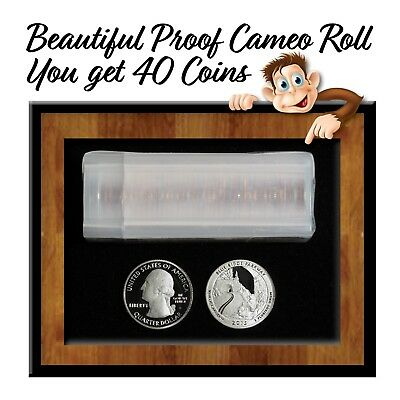 """Lot of 2015-S Proof Cameo """"Blue Ridge Parkway"""" Quarters - Roll of 40 Coins"""