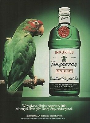 1989 Tanqueray Gin Why Give A Gift That Says Very Little Parrot Vintage Print Ad